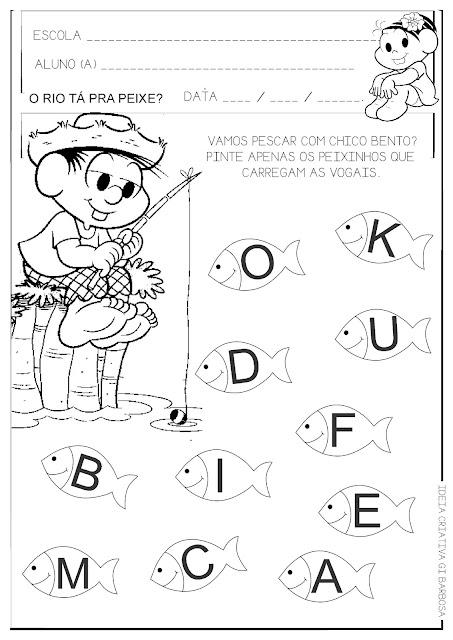 Atividade Educação Infantil Vogais Chico Bento