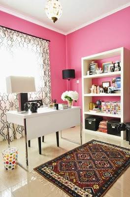 diseño oficina rosa gris