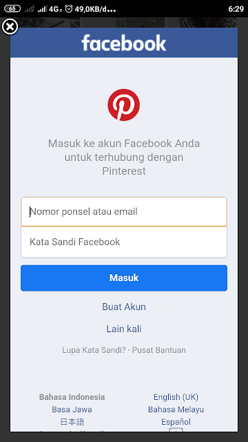 login pinterest dengan facebook
