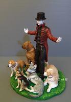 cake top realistica mago con cani cake topper con animali domestici cane lupo orme magiche