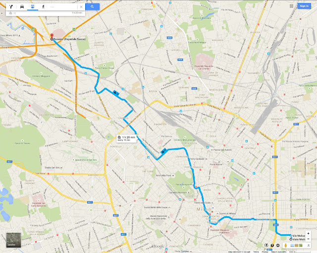 Milan's Tram 19 route map, serving Sempione district, Via Procaccini, Chinatown, Milan Cathedral, Piazza del Duomo, Porta Vittoria, Piazza Cinque Giornate, Milano Porta Vittoria Station
