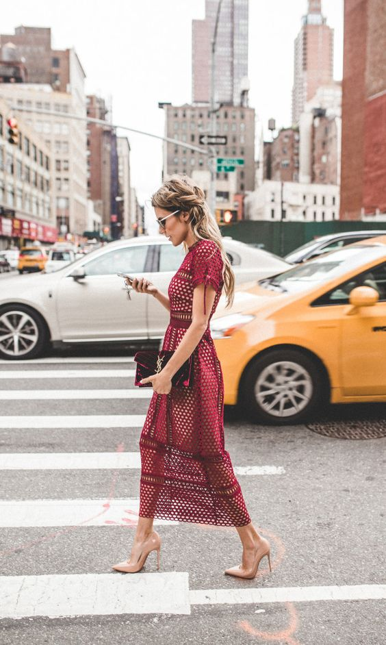 Christine Hello Fashion - Burgundy Self Portrait Midi Dress + Red Velvet Saint Laurent Bag