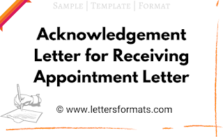 acknowledgement letter for receiving appointment letter