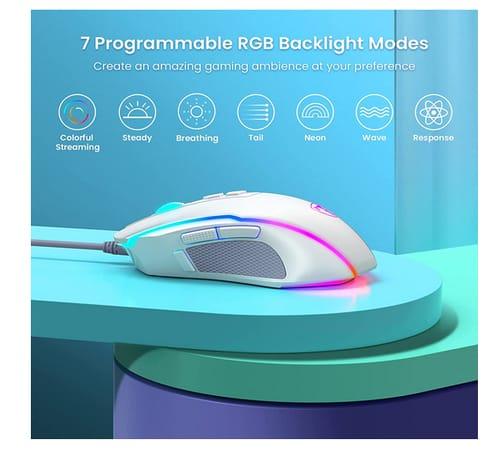 PICTEK Chroma RGB Backlit Comfortable Grip Gaming Mouse