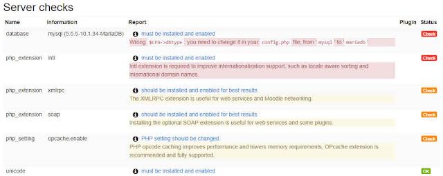 server checks installasi moodle