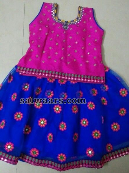Blue Mirror Lehenga pink Blouse