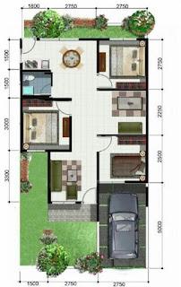denah rumah 3 kamar 1 lantai beserta anggaran biaya