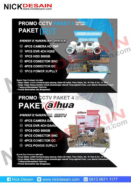 Contoh Desain Brosur CCTV warna merah dan Biru
