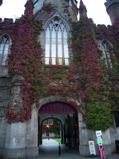 Red Ivy covered university building, with a double archway entrance to an inner quadrangle area