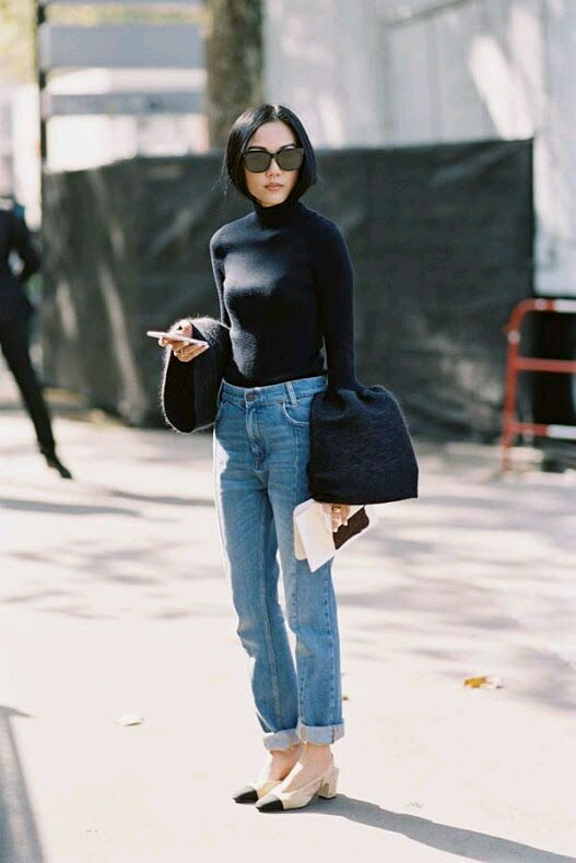 denim, jeans, trends, inspiracje, inspiration, fashion inspiration, fashion trends, autumn, fall, jesień, zima, trendy, moms jeans, models off duty