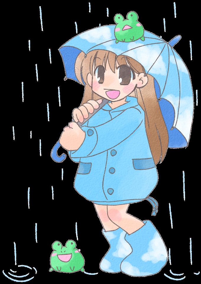 雨と少女とマンジュウガエル。