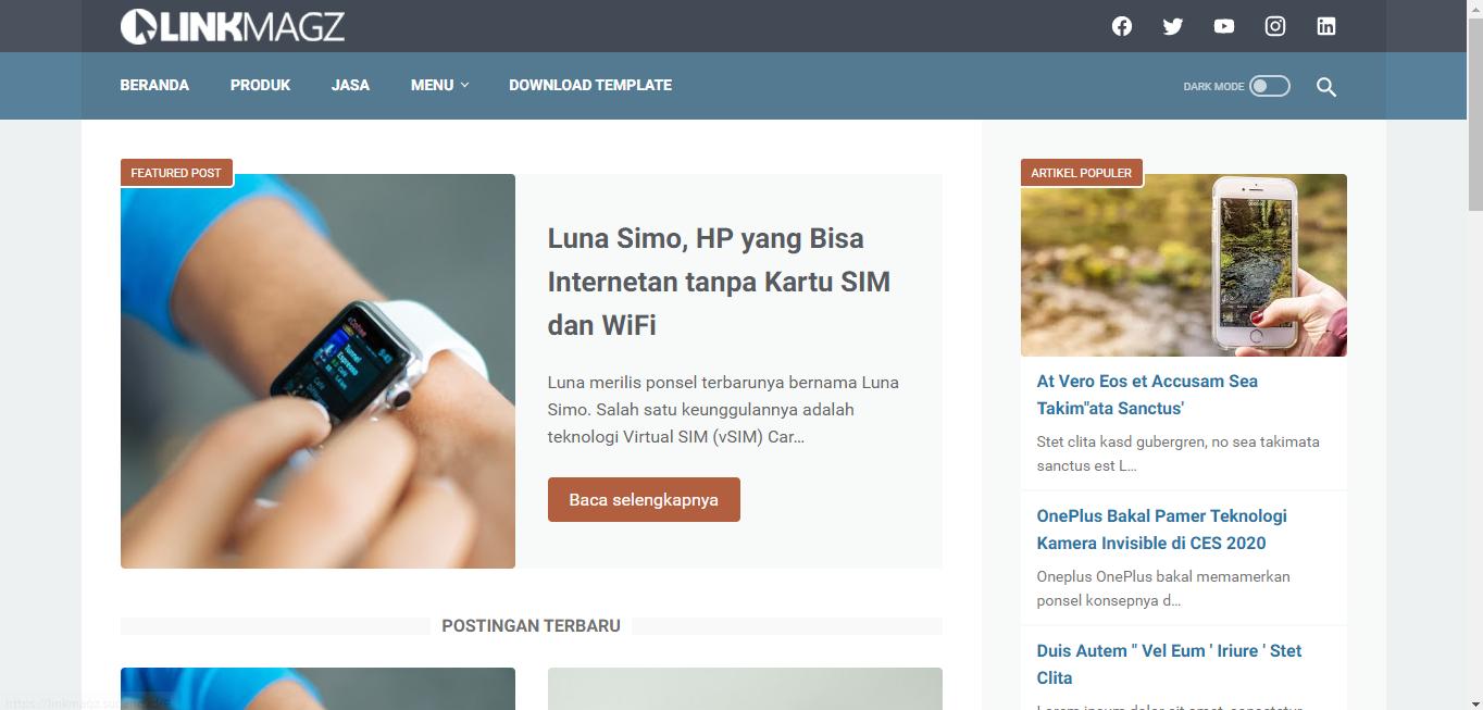 Review Menggunakan Template Linkmagz Versi Terbaru Original