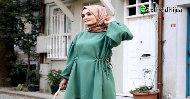 perpaduan dress hijau pastel dan hijab fold menambah kesan trendy ootd kamu