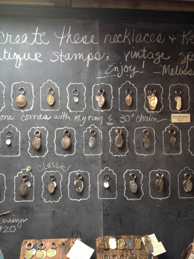 chalkboard wall with stamped spoon jewelry | MamaBleu.com