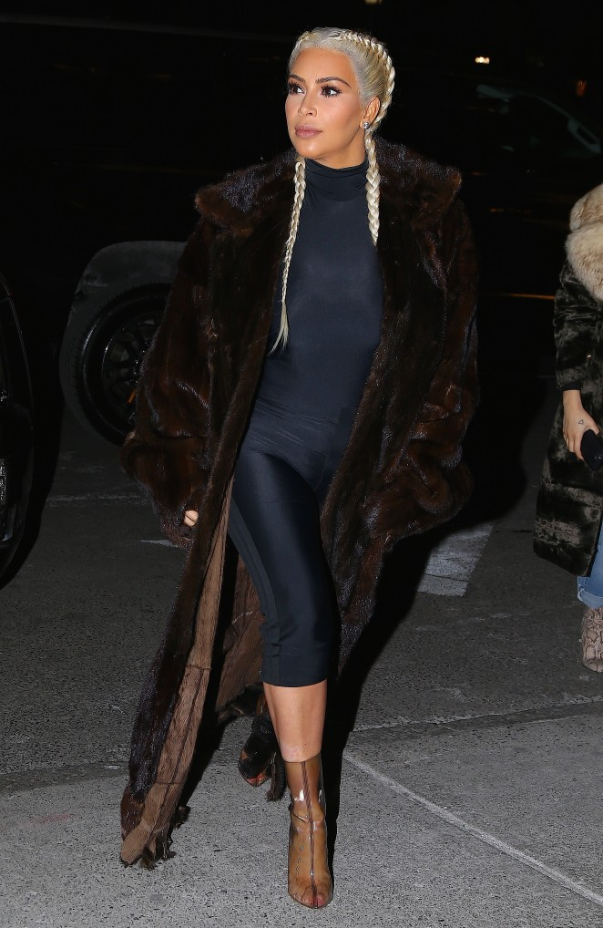 Kim Kardashian sports chic braided hairdo in NY