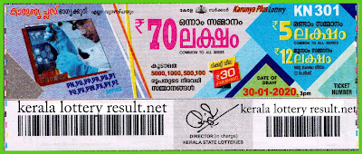 Kerala Lottery Result 30-01-2020 Karunya Plus KN-301 (keralalotteryresult.net)