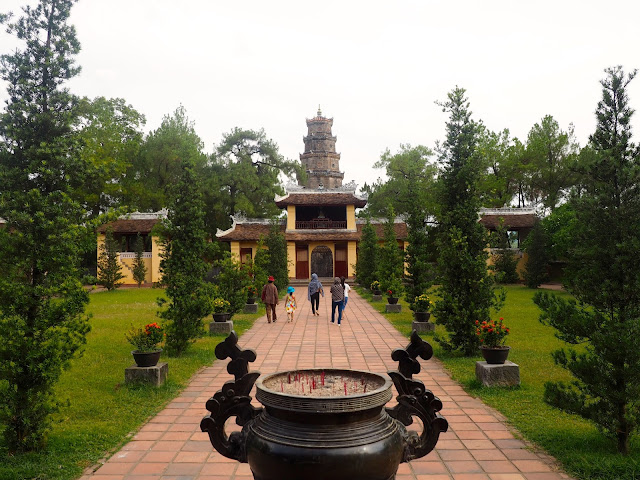 Inside the Thien Mu pagoda complex, near Hue, Vietnam