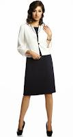 Costum business, negru-alb, cu sacou si rochie