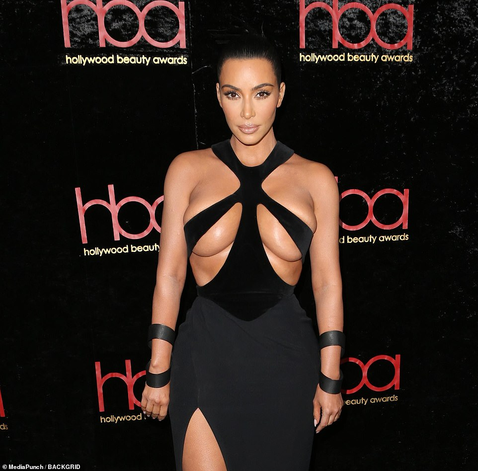 Kim Kardashian Wears Super Sexy Dress to Hollywood Beauty Awards 2019