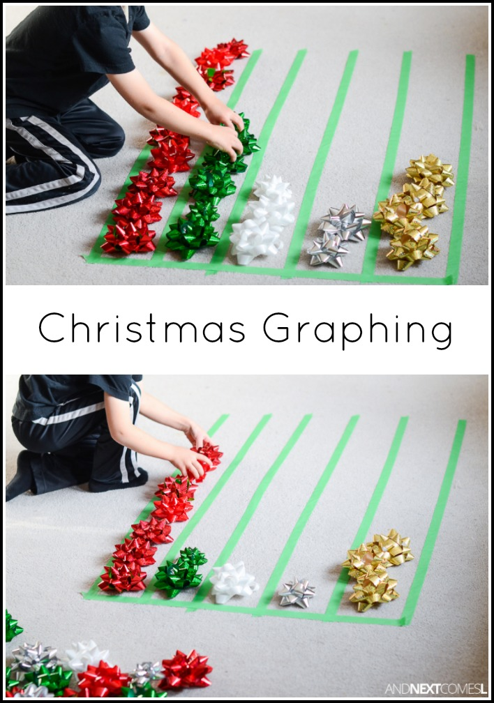 Christmas math activity graphing with gift bows and for Christmas crafts for kindergarten class