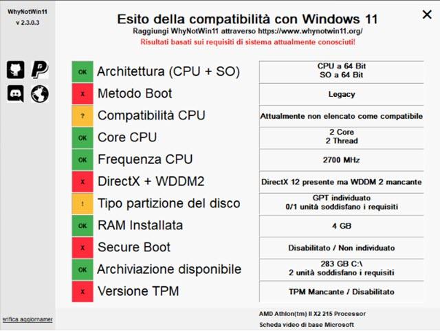 analisi della compatibilità su un vecchio PC