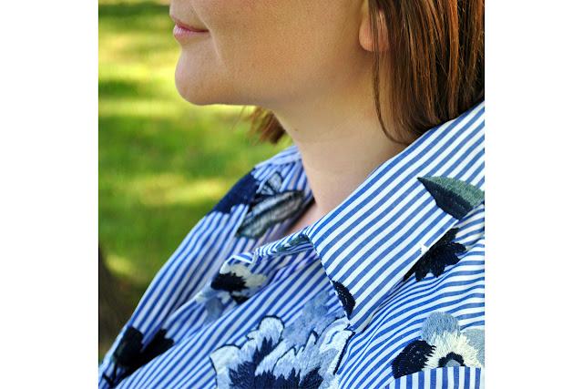 Koszula z haftowanej tkaniny - jak to szyć??