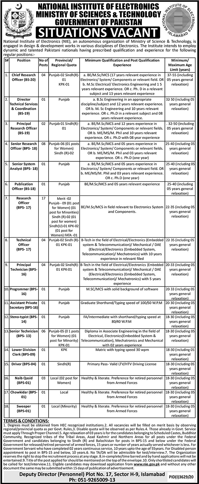 How to apply for Ministry of Science & Technology Pakistan Jobs