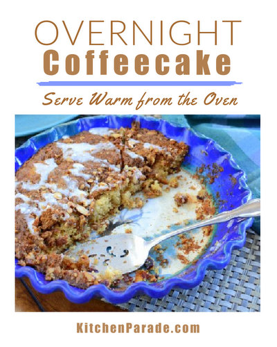 Overnight Coffeecake ♥ KitchenParade.com, easy, adaptable coffeecake recipe, mix it the night before, bake to serve hot and fresh in the morning.