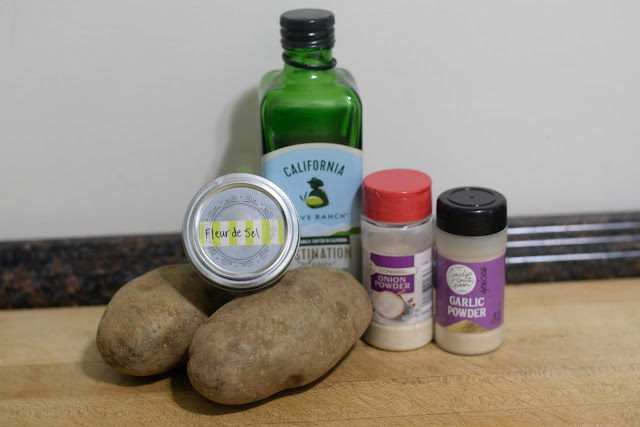 The ingredients used to make the restaurant style baked potatoes.