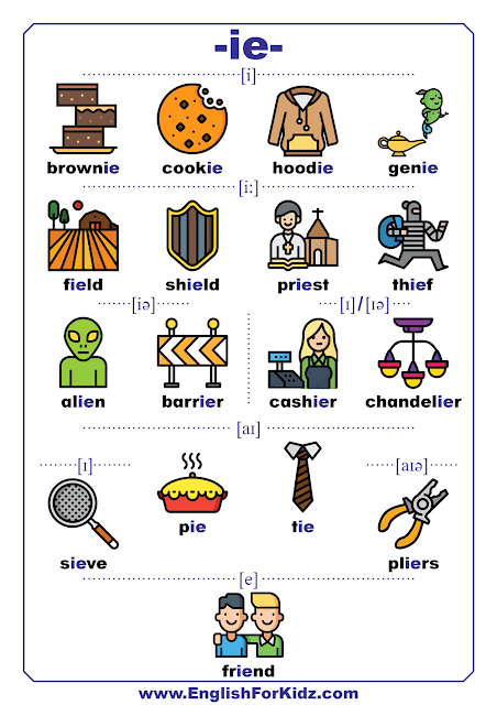 Vowel digraph IE words with pictures - phonics sounds chart
