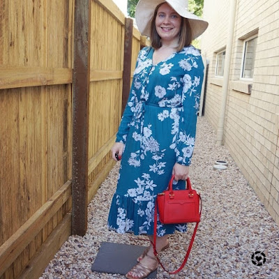 awayfromtheblue Instagram | Kmart teal floral print midi dress birthday party outfit with little red Rebecca Minkoff bag sunhat