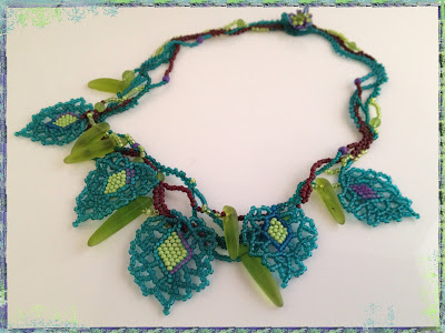 New Growth, freeform beaded necklace with cultured 'sea glass' shards by Karen Williams