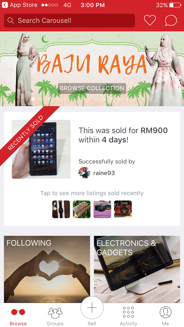 The interface for Carousell Mobile Application
