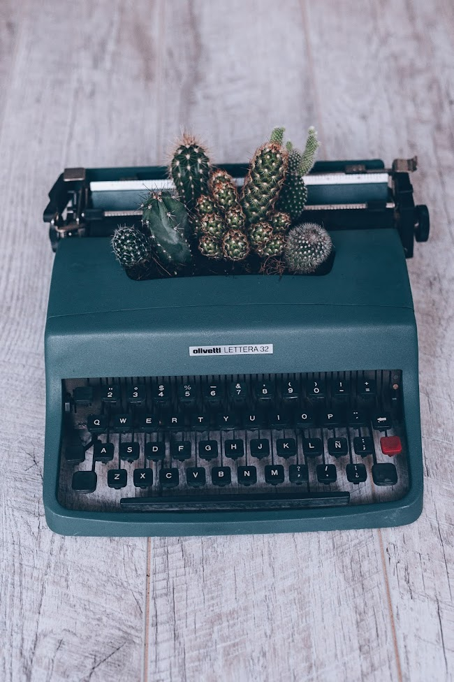 Máquina de escrever com cactos.