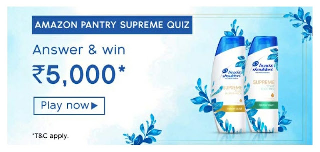 Amazon Pantry Supreme Quiz answer and win rs 5000