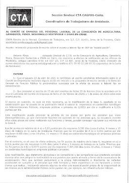Reiteramos al Comité de Empresa escrito sobre propuesta de escrito sobre el acceso a laboral fijo en