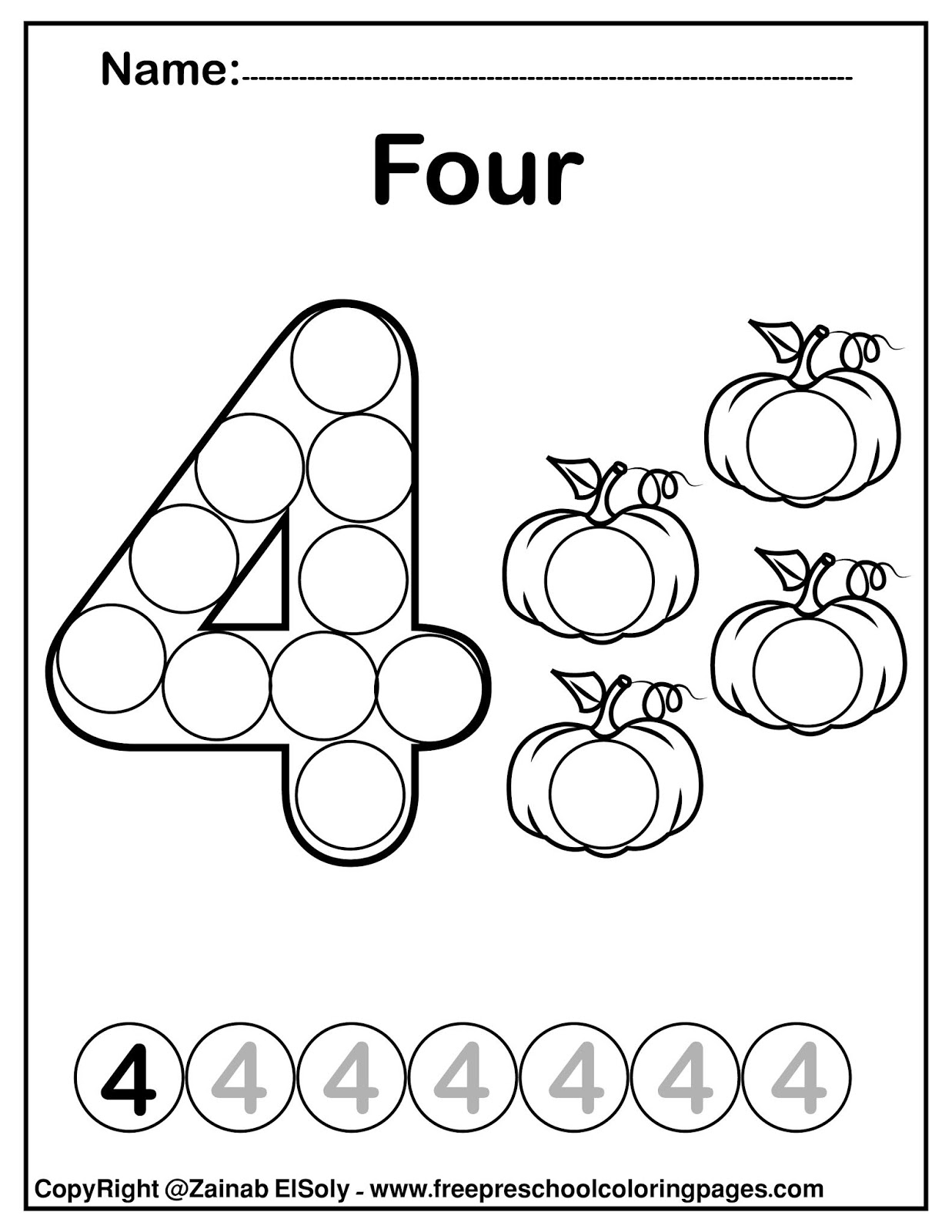 Set Of Pumpkins Dot Activity Free Preschool Coloring Sheets