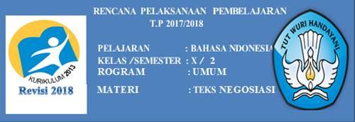 RPP Bahasa Indonesia Kelas X K13 Revisi 2018 Doc
