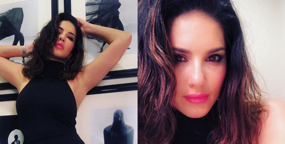 Sunny Leone Sexy Photos in Black Cut Out Dress