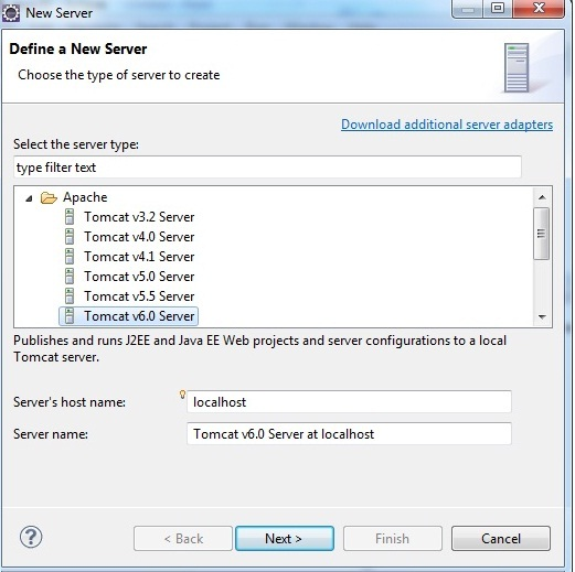 showing how to configure, add or install apache tomcat server in eclipse