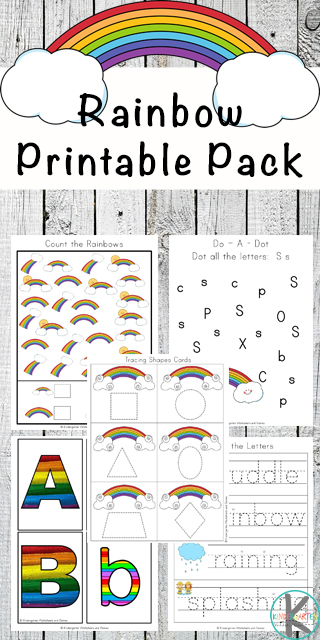 FREE Rainbow Worksheets for Kids - kids will have fun practicing alphabet letters, counitng, syllables, key words, color words, and more with these fun, free printable worksheets for preschool, kindergarten, and first grade kids. #rainbows #preschoolworskheets #kindergartenworksheets #toddlerworksheets #freeworksheets #worksheetsforkids #kindergartenworksheetsandgames