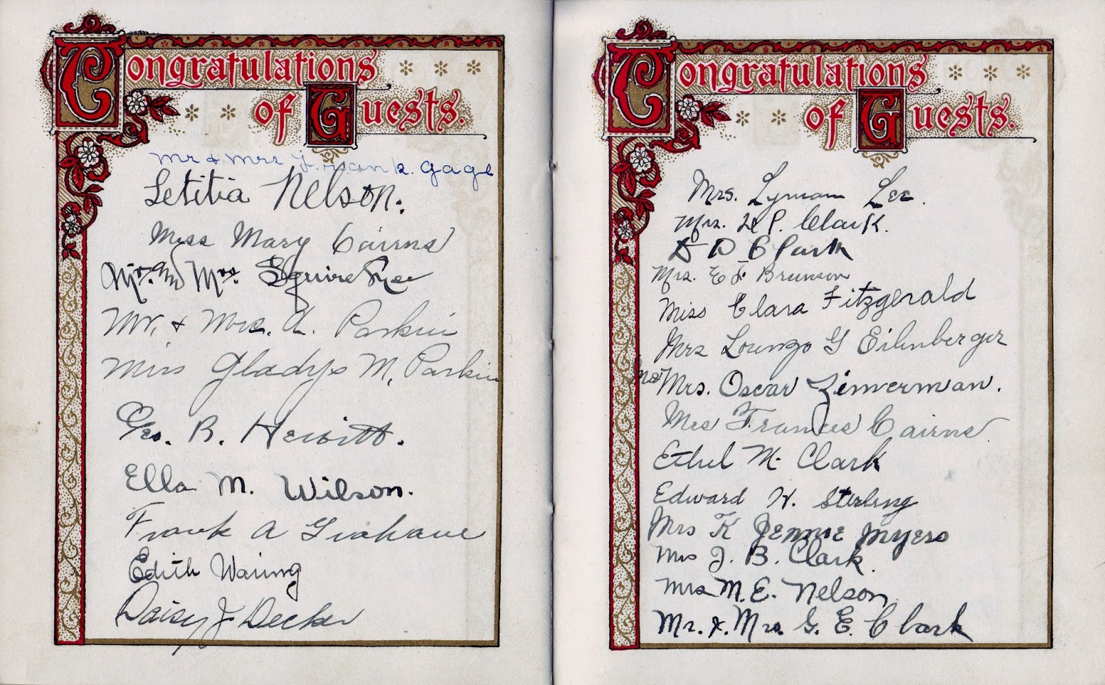 Nellie M Hewitt and Harry E Lee's Wedding Book Page 4