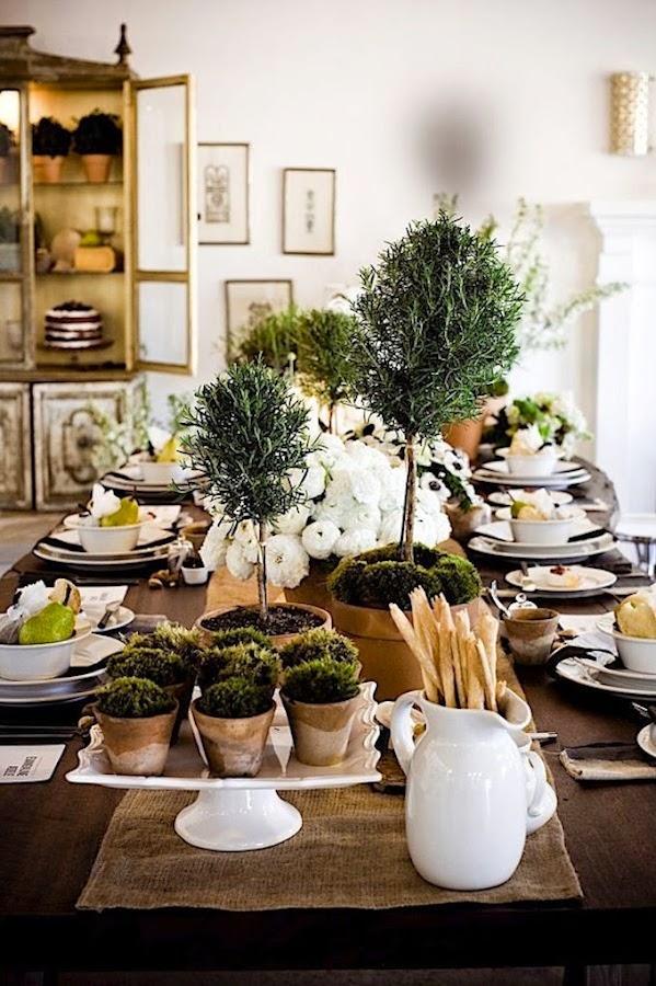 decoracion mesa con arboles