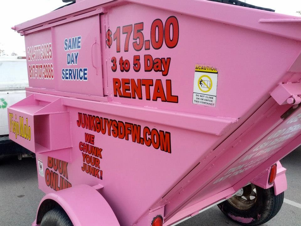 12 Yard Dumpster And A 6 Yard Pink Mini Dumpster Delivered
