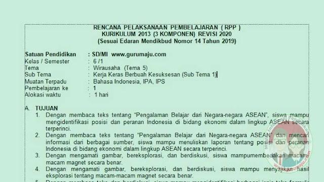 RPP 1 LEMBAR KELAS 6 SEMESTER 1 TEMA 5