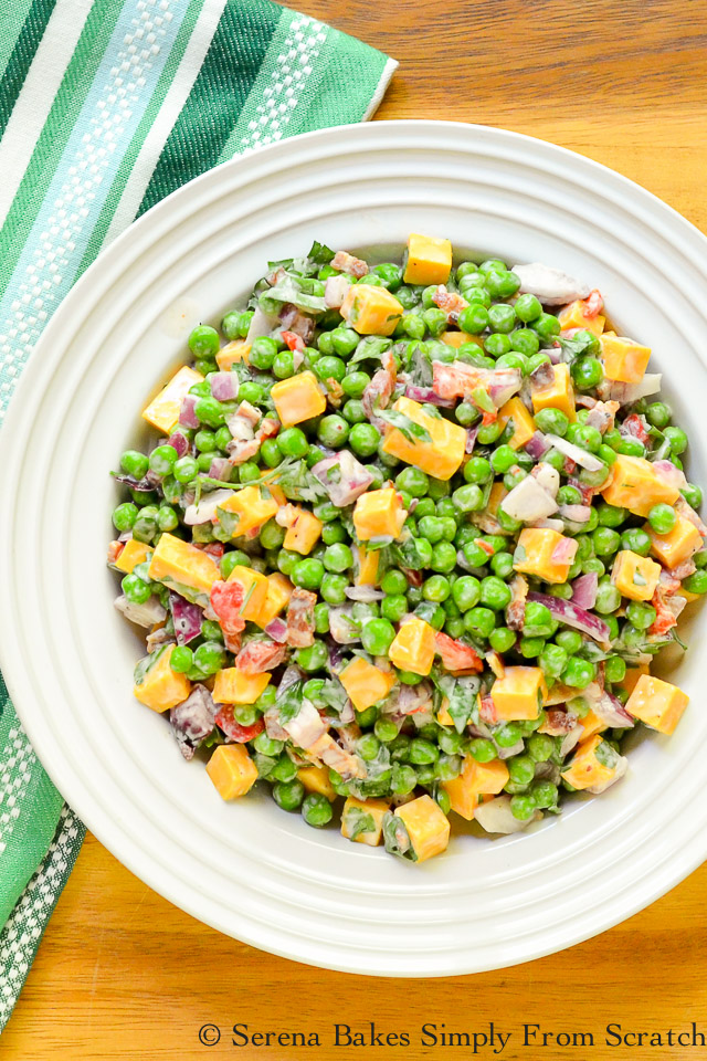 Pea Salad with Bacon and Cheddar Cheese is an easy side salad recipe to make. Delicious for gatherings from Serena Bakes Simply From Scratch.