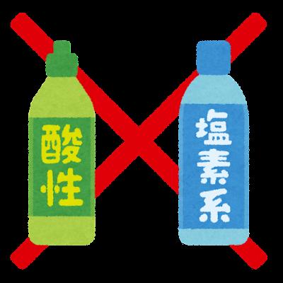 混ぜるな危険のイラスト(酸性と塩素系)