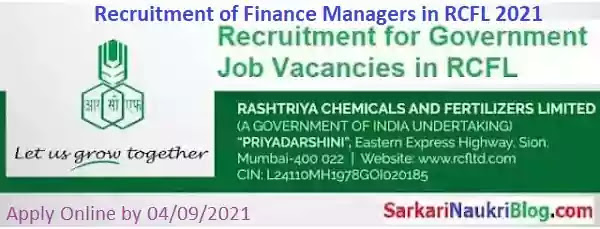RCFL Manager Finance Vacancy Recruitment 2021