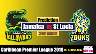 Who will win Today CPL T20 2019 24th Match Jamaica vs St. Lucia