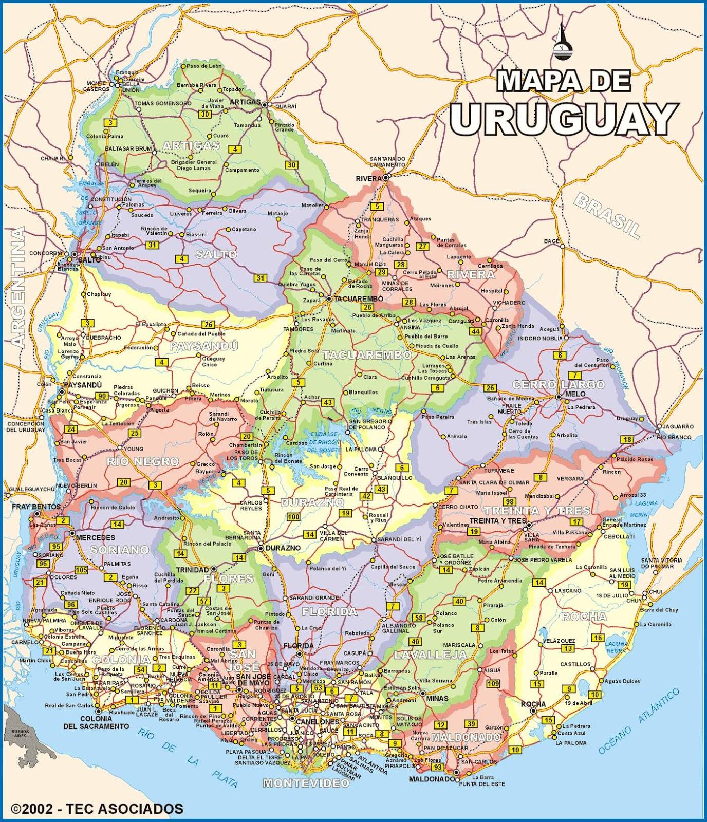 Mapas Geográficos de Uruguay